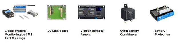victron global monitoring system GSM, dc link box, Victron remote panels, Cyrix Battery combiner, Battery protection